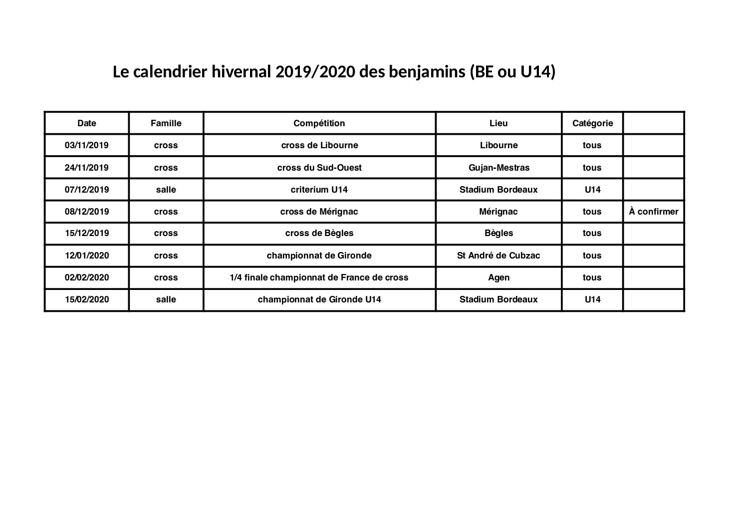 Calendrier Cross Country 2020.Calendriers Leognan Athletisme